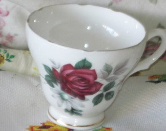 Vintage Tea cup,Rose Tea Cup,Tea Cup,Genuine Bone China from England Scalloped Edge/Pretty Red Rose's On it :)SNot included in coupon Sale