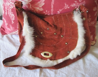 Leather Hand Bag Trimmed with Rabbit Fur,Leather Child's Purse,Leather Purse,Small Leather purse,Rabbit Fur Purse,