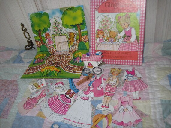 1981 The Ginghams paper Doll Becky's Tea Party and Play Set
