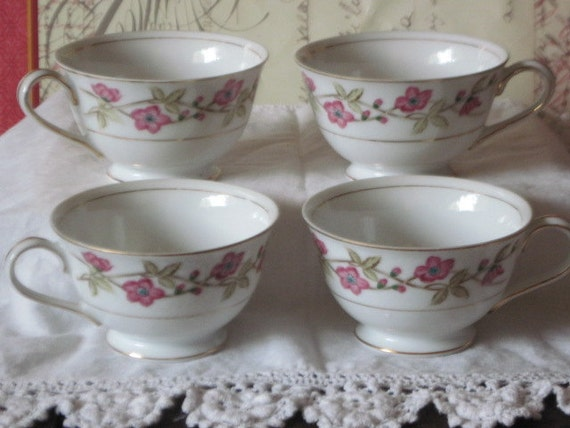 Tea Cups Valmont China Briar Rose ,Vintage Tea Cups,Vintage China Tea Cups, Cottage Chic Tea cups, Beautiful Rose Pattern  :) S