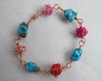 CLEARANCE - Wire Bead and Turquoise Nugget Bracelet