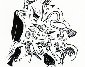 Bird Wallpaper original lino print