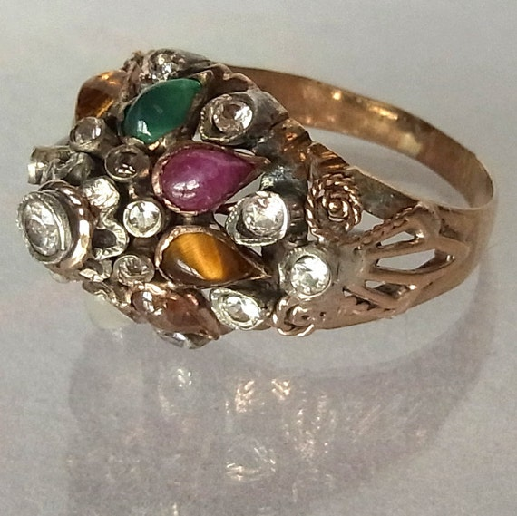 thai princess nopakao nine gems ring 9k gold gemstones vintage