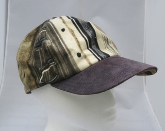 Navy Olive Geometric Printed Linen Baseball Cap with Suede Brim