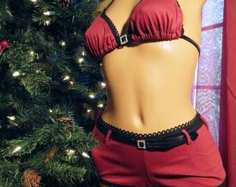 Rhinestone Holiday LIngerie Set in Custom and Plus Sizes Red Cotton Knit with Rhinestone Buckle Boyshorts and Bikini Bra