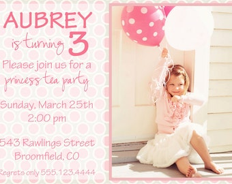 Pink Polka Dot Birthday Girl Party Invitation, DIY Printable, digital file (item 1059)