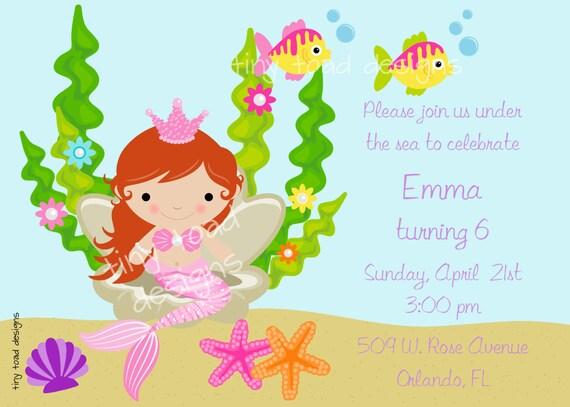 Mermaid Under the Sea Birthday Party Invitation DIY