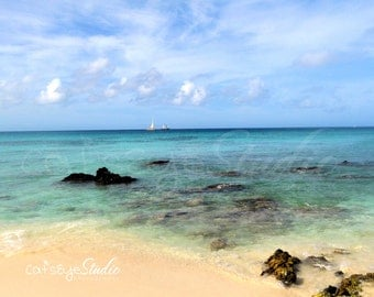 "Caribbean Oceanscape, Beach Photography, Aruba,  Blue Sky and Ocean "" BOCA CATALINA""  Seascape Photograph"