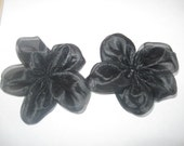 5-Petal Black Organza Flower