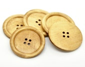 10 Extra Large Natural Wooden Button - 5cm - 2 inch -  4 hole - Wood Buttons (B18941)