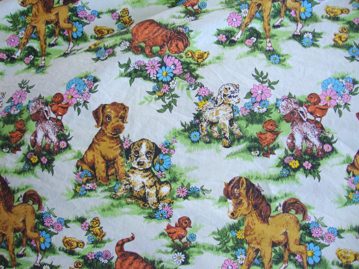 Vintage 60s cute animal fabric baby farm animals pink daisy for Cute baby fabric prints
