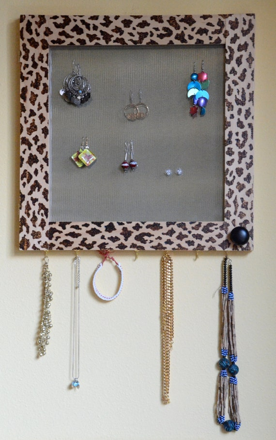 Decorative Wall Mirror Jewelry Organizer : Home decor jewelry storage mirrored earring organizer leopard