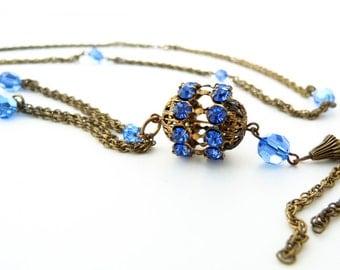 Rhinestone Tassel Pendant Necklace in Blue