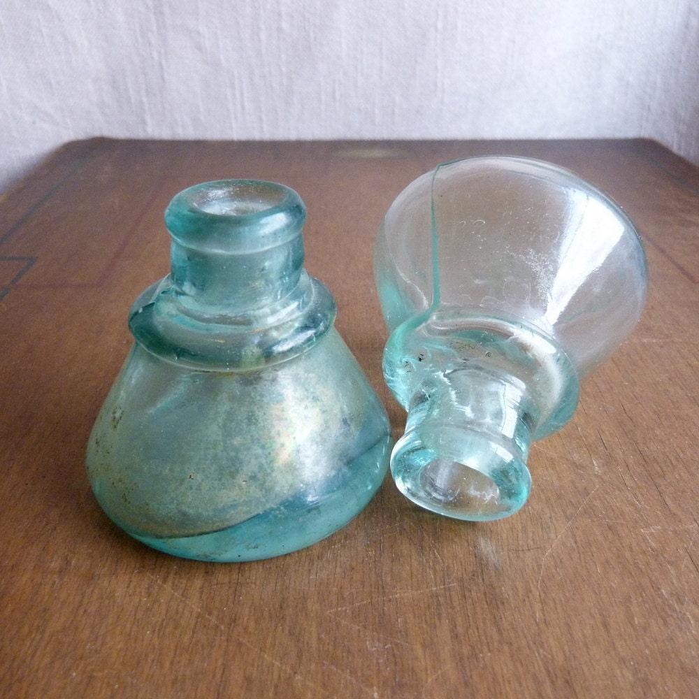 Antique vintage glass ink bottles glass inkwells lot of 2 for Retro glass bottles