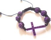 Handmade pretty Rhinestone cross bracelet- purple major-T-B-041