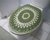 Crochet toilet seat cover or crochet toilet tank lid cover - Tea leaf/Natural (TSC7B or TTL7B)