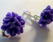 Lily cabochon purple stud Clip On Earring
