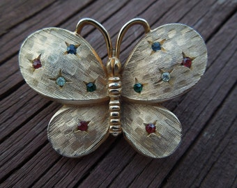Vintage Butterfly Brooch, Gold Tone, with Colored Rhinestones, Nice Condition.