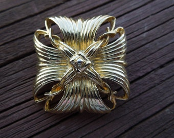 Vintage Square Brooch, Gold Tone, Nice Condition
