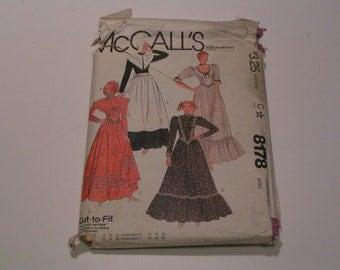 Vintage McCalls Pattern 8178 Miss Costume Long Dress Hat Shawl