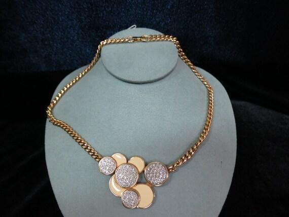 1980s Retro -Glam Enamel Pave Rhinestone Necklace Item K #53