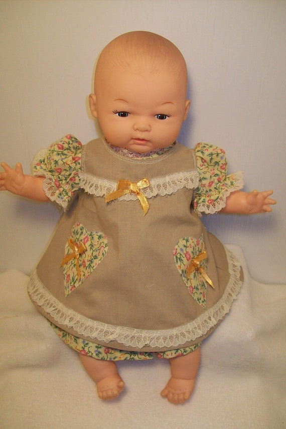Floral Calico Pinafore Dress for  small Baby Dolls 12 to 15 inches
