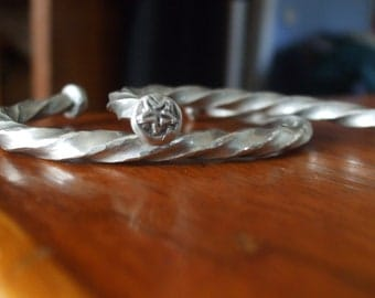 Thors twist torc bracelet with celtic eternity knot and moon and star.hand hammered  hand crafted silver pewter