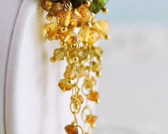 Autumn Wedding Earrings, Genuine Tourmaline Citrine Gemstone, Cluster, Bridal Jewelry, Sterling Silver or Gold - Cornucopia - Free Shipping