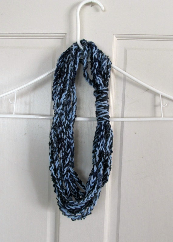 Crocheted Necklace-Infinity Scarf-Two tone Blue