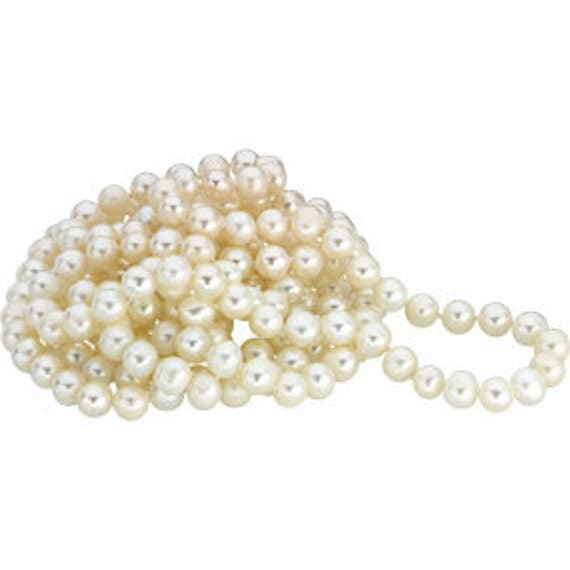 Pearl Necklace Long White Freshwater Cultured Pearl Rope Necklace