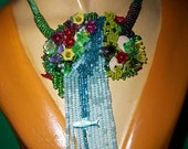 Blue Waterfall - Bead Embroidered Necklace