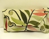 Green, Mauve, and Pink Clutch or Make Up Bag in Leaf Pattern