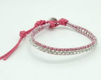 Crystal pink cotton silver charm bracelet.