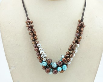 Brown and blue freshwater pearl necklace.