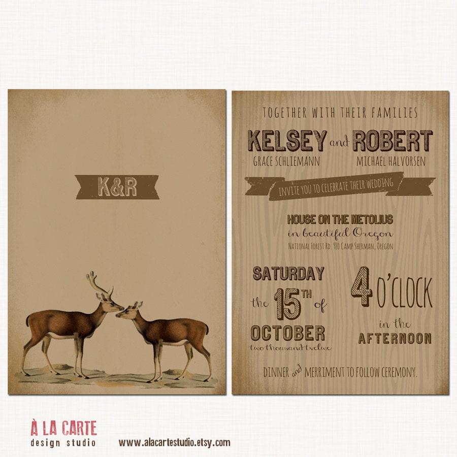 Paper For Wedding Invitation: Rustic Woodland Wedding Invitation Kraft Paper By