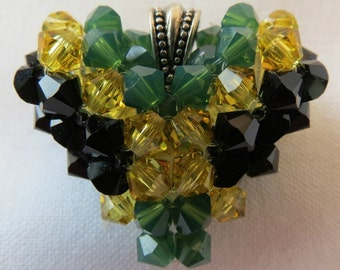 Green and Gold Flag Jewelry I LOVE JAMAICA  Flag Swarovski Crystal Puffy Heart Pendant