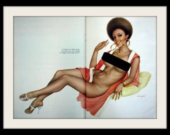 "VARGAS Afro Sexy Girl In Heels Pin Up Art, ""Black Pride"" Vintage Nude Wall Decor Print, Mature"