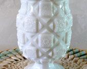 Vintage Milk Glass Vase Celery Pedestal Dish Westmoreland Old Quilt Milk Glass Antique