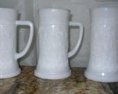 Vintage Beer Steins Indiana Milk Glass German Tavern Scene Beer Stein Vintage Mug Lot of 3