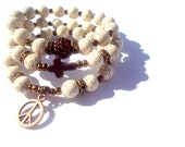 Beaded bracelet set, brown and cream, Perfect Peace