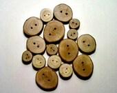 Wood Buttons, Wooden Buttons, Set of 4, Craft Supplies, Log Slice