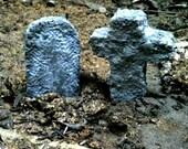 Tombstone, Cross, Cemetery, Halloween Decorations, Miniature Graveyard, Concrete Garden Decoration, Garden Decor
