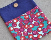 Rosebuds Laptop, iPad sleeve - Maroon, Red, Turquoise - Custom Orders Are Available