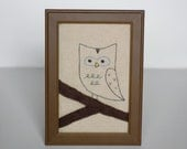 Cute Little Owl Stitched Picture 4X6