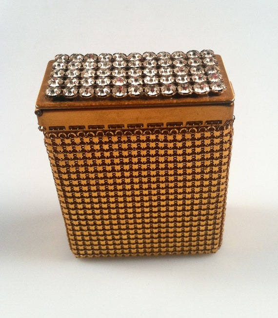 DEADSTOCK Cigarette Case Gold Mesh with RHINESTONE Top New Old Stock Glamorous SALE