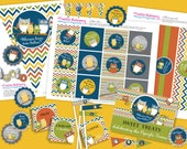 TWIN Owl Baby Boys Shower DIY Party Printables Package. Modern colors with twins. Fun chevron pattern.