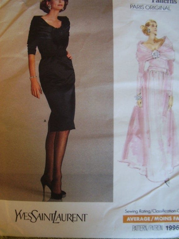 Retro Style Vogue Paris Original Yves Saint Laurent Evening Gown 1950s style Sewing Pattern, Size 14, Bust 36