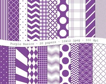 Purple Basics digital scrapbooking paper pack - 20 printable jpeg papers, 12x12, 300 dpi - instant download