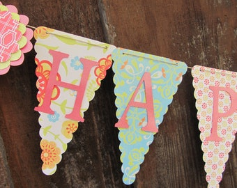 Happy Birthday Banner, Birthday Banner, Happy 1st Birthday Banner, Happy Birthday Girl Banner 1st Birthday,
