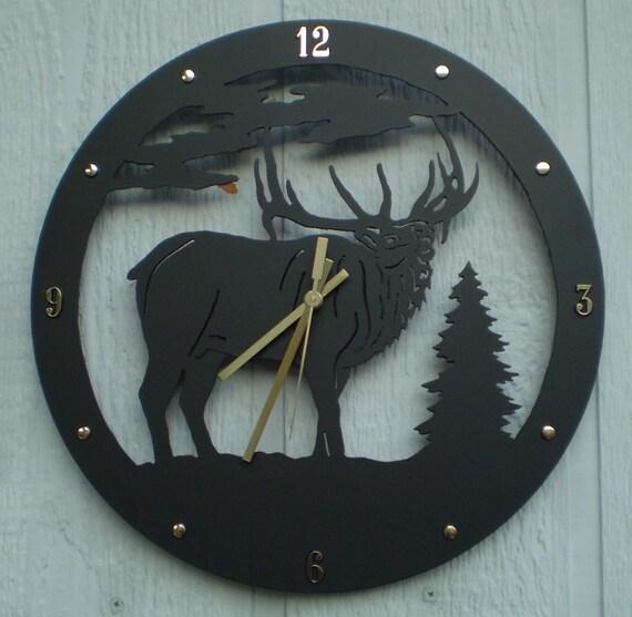 Wall Clock, BUGLING BULL Elk Clock Metal Art - Home Decor - Hear his Call - Wall Decor, Close Out/Discontinued Item